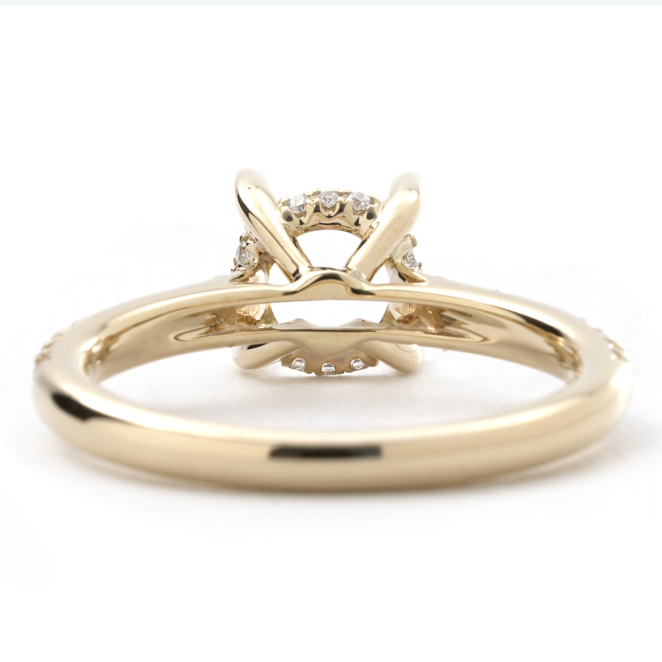 Cathedral Style Round 0 22 Cttw Diamond Basket Setting In Yellow Gold New York Jewelers Chicago