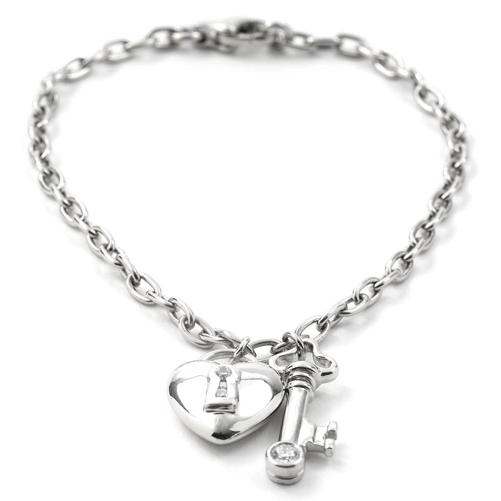 Tiffany Co Heart Lock Key Bracelet Platinum New York Jewelers Jewelry