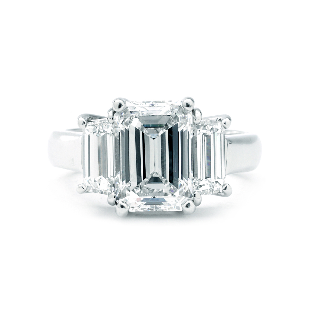 Three Stone Emerald Cut And Trapezoid 4 42 Cttw Diamond Engagement Ring In White Gold New York Jewelers Chicago