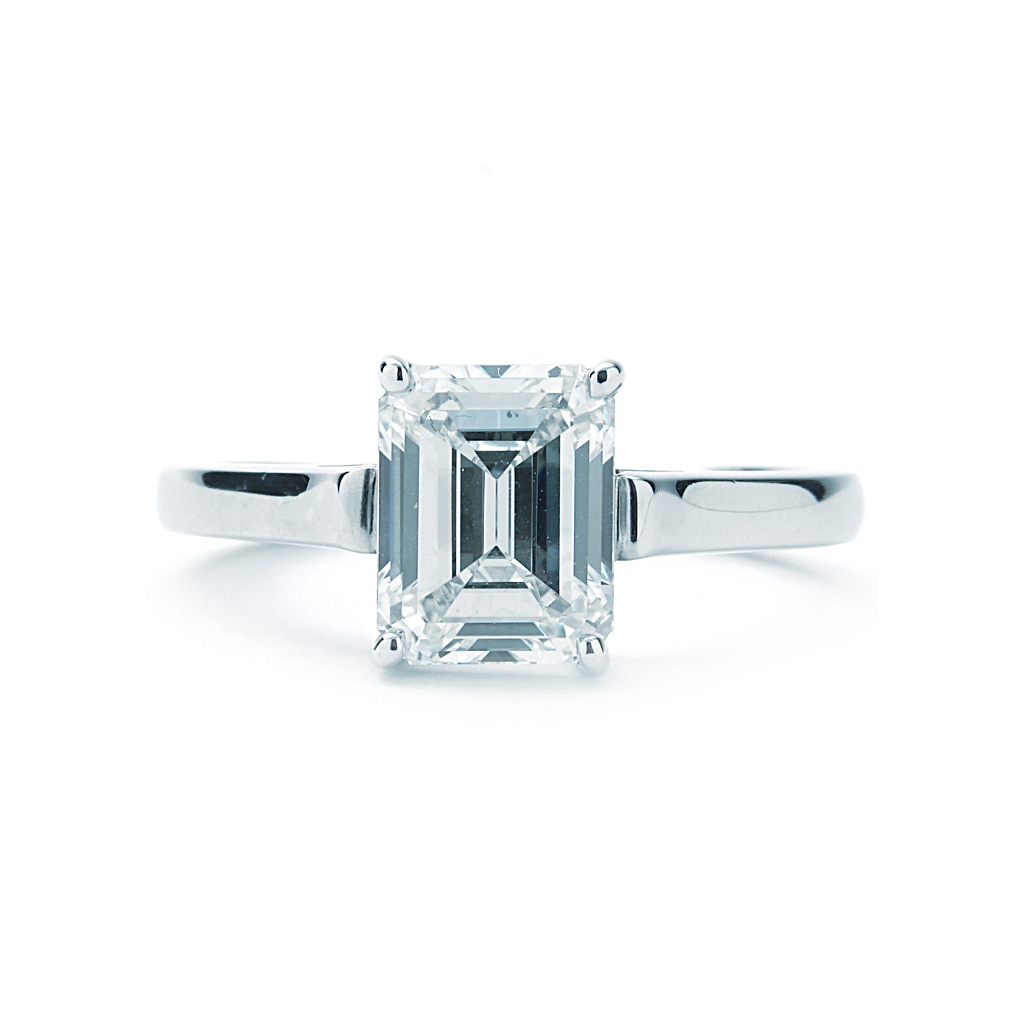 Tiffany Co Solitaire Emerald Cut Engagement Ring 2 45ct Center New York Jewelers Chicago