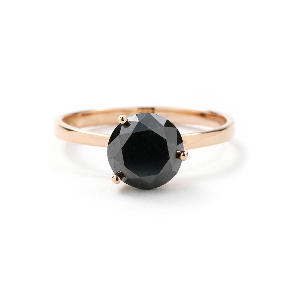2 13 Ct Round Black Diamond Solitaire Ring In Rose Gold New York Jewelers Chicago
