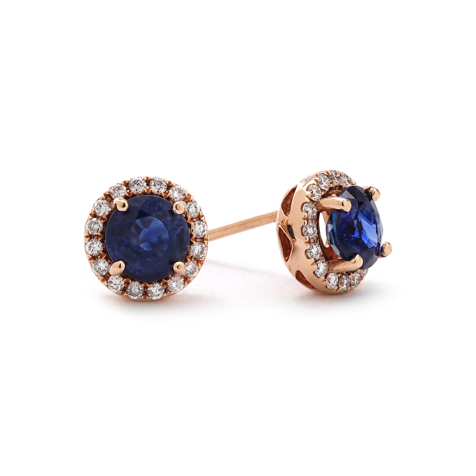 Rose Gold Round Halo Diamond Sapphire Earrings New York Jewelers Chicago